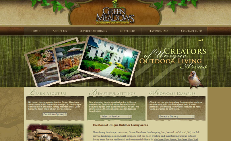 Web design for a New Jersey landscaping company. - Landscaper Websites, Logos For Landscape Companies, Landscaper